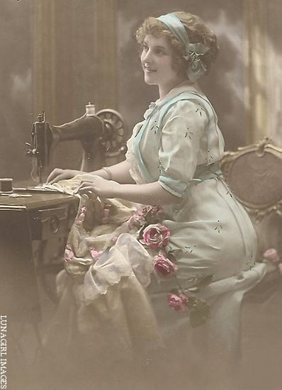 loved the way they dressed - vintage lady at sewing machine