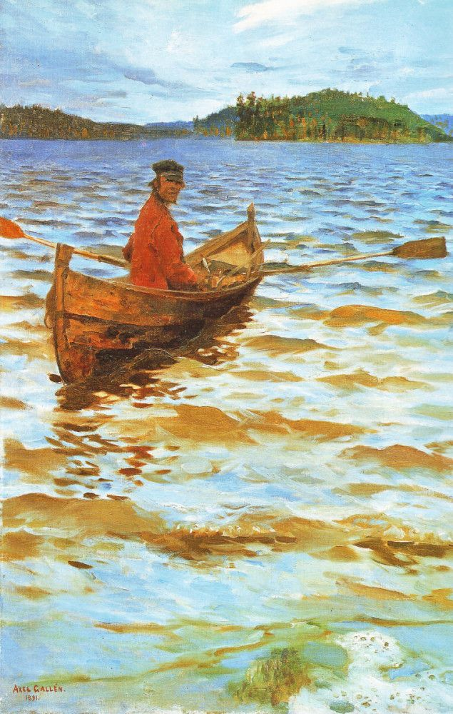 Rowing to the Shore 1891 | Oil on canvas | 640 x 395 mm The Gösta Serlachius Museum of Fine Arts, Mänttä Gallen-Kallela, Akseli | 1865-1931