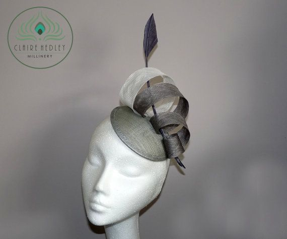 Grey silver sinamay fascinator cocktail hat with grey and