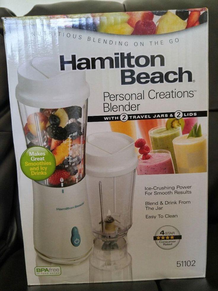 Hamilton Beach Personal Single Serve Blender with 2 Jars and  2 Lids White  #HamiltonBeach