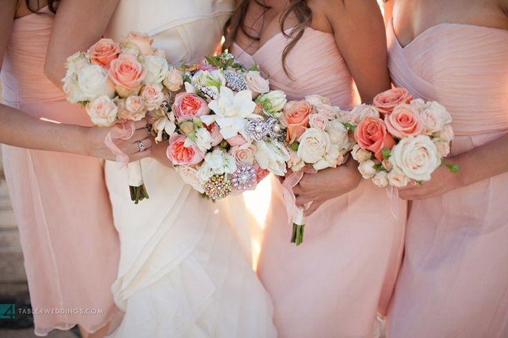 Pink & coral bridesmaids. | Table 4 Weddings