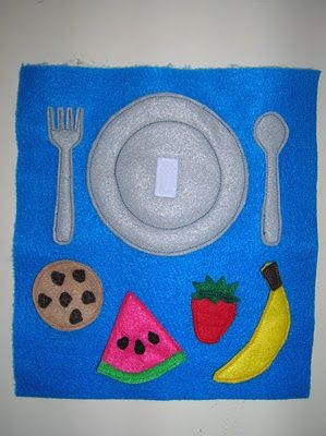 Velcro food and dinner plate quiet book page :)