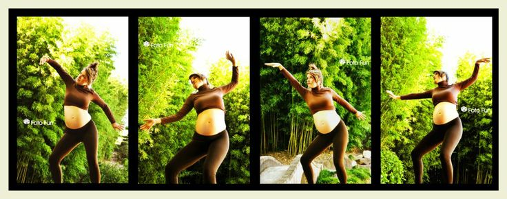 Mama Earth, collage of pregnant woman pretending to be a tree, part of nature, model Julia Booth