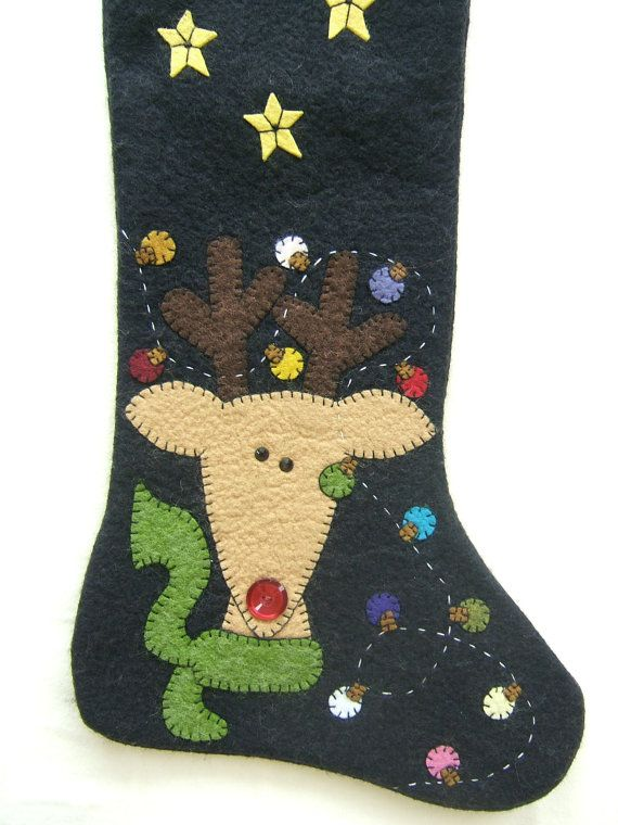 Unique Wool Felt, Hand Made and Appliqued, Christmas Stockings Embellished with Swarovski Crystals, Reindeer with Lights, One of a Kind