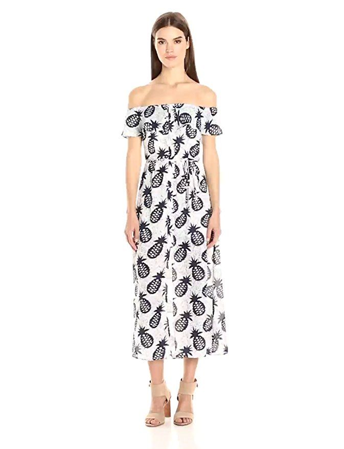 Love this quirky pineapple print on this mid calf midi dress lucca couture womens