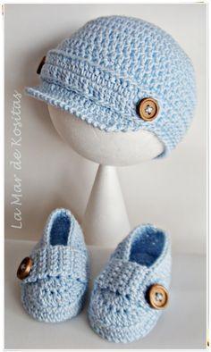 Conjunto gorro y zapatos mocasines en crochet ganchillo para niños de 0 a 9 meses  Este modelo está basado en el patrón de Lanas y Ovillos http://lanasyovillos.com/content/accesorios