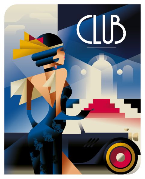Club posters by illustrator Mads Berg. Beautiful use of gradients and line.