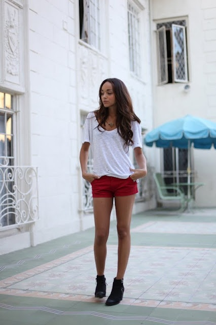 .: Beautiful Dawn,  Minis, Cute Outfits, Ashley Madekwe, Fashion Blog, Springsumm Style, Red Shorts, Killers Style, Madekwe Rings