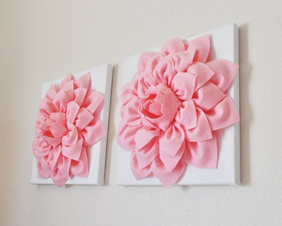 """TWO Wall Flowers -Light Pink Dahlias on White and 12 x12"""" Canvas Wall Art- Baby Nursery Wall Art on Etsy, $66.00"""
