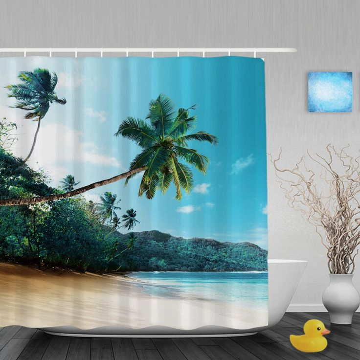 Sea Beach Landscape Shower Cutains Cocotree Blue Sky Home Decor Bathroom Shower Curtains Polyester Waterproof Fabric With Hooks