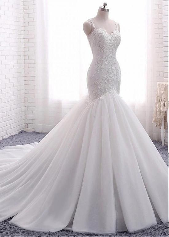 Magbridal Attractive Tulle Spaghetti Straps Neckline Backless Mermaid Wedding Dresses With Beaded Lace Appliques