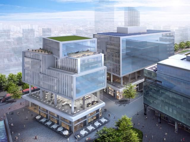 Looking northeast to the Waterfront Innovation Centre, redesign by Sweeny&Co for Menkes and Waterfront Toronto