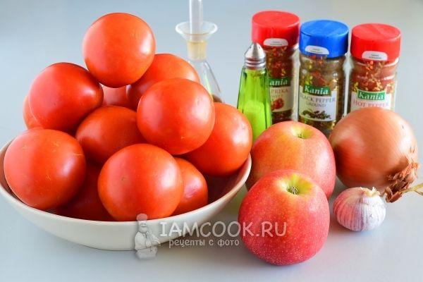 Ингредиенты для домашнего кетчупа «Пальчики оближешь» из помидоров на зиму