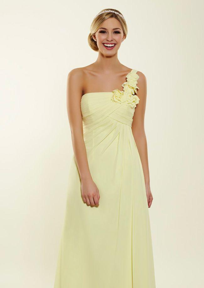 Lemon one shoulder bridesmaid dress from Bridesmaids by Romantica