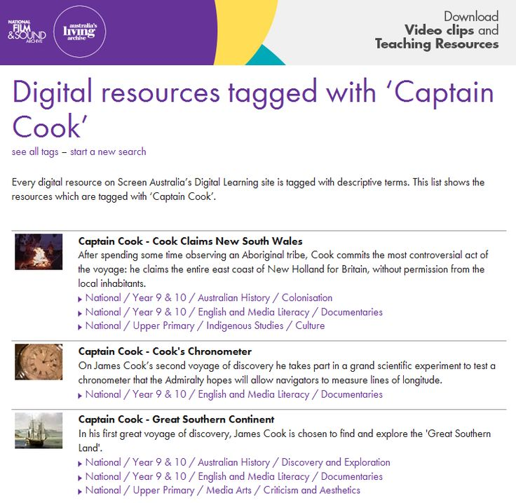 Explore a variety of resources from National Film and Sound Archive's digital learning resources for items tagged with Captain Cook.