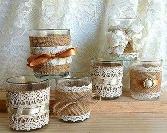 10 x arpillera y marfil encaje cubiertos sostenedores por PinKyJubb
