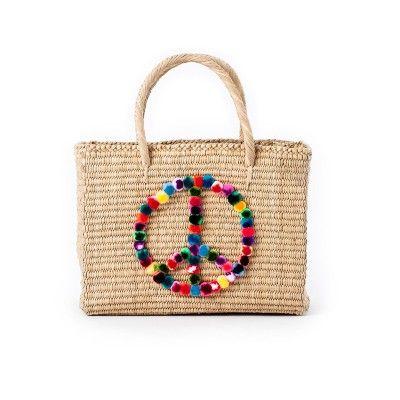 Bolsa de palha pompons paz colorida Nannacay - Azul - shoplixmix                                                                                                                                                                                 Mais