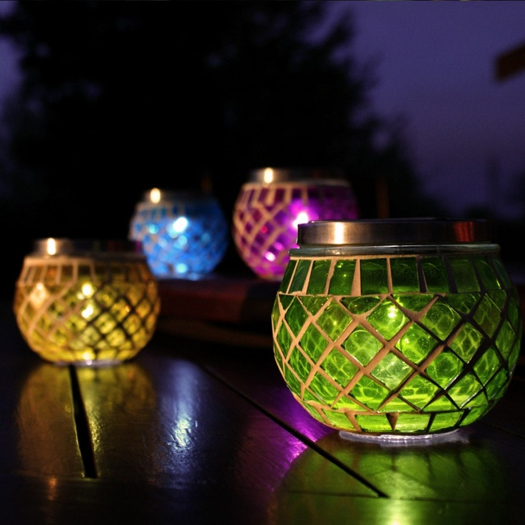 Outdoor Solar Mosaic Table Lantern Lights, 4 Pack From Festive Lights