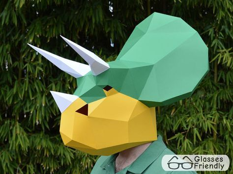 Throw a real dinosaur birthday party with this triceratops mask pattern! All you need is paper, cardboard, or old file folders and some glue and youre dinosaur party ready! This dinosaur mask is designed to simply slip over the head and is sized for an average adult. Child size also included*. Paint the finished mask however you like to create your personalized project. For more fun, bundle with our Dinosaur Tail and Claws Patterns for a complete costume! * Tail: http://etsy.me&#x...