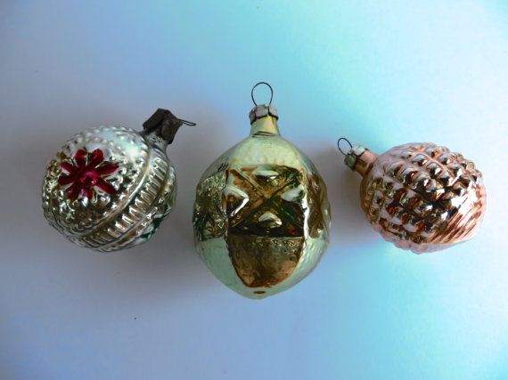 Set of 3 Christmas Glass Ornament, Soviet Christmas decorations, USSR glass toys, Mercury glass toy
