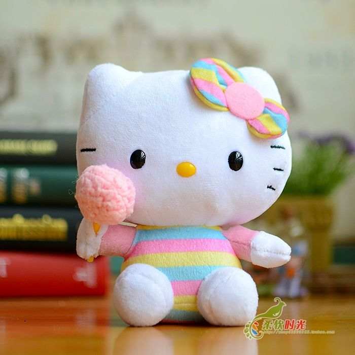 Toys For Children Hello Kitty Hand Cotton Candy Doll Plush Baby Toy Gifts One Piece