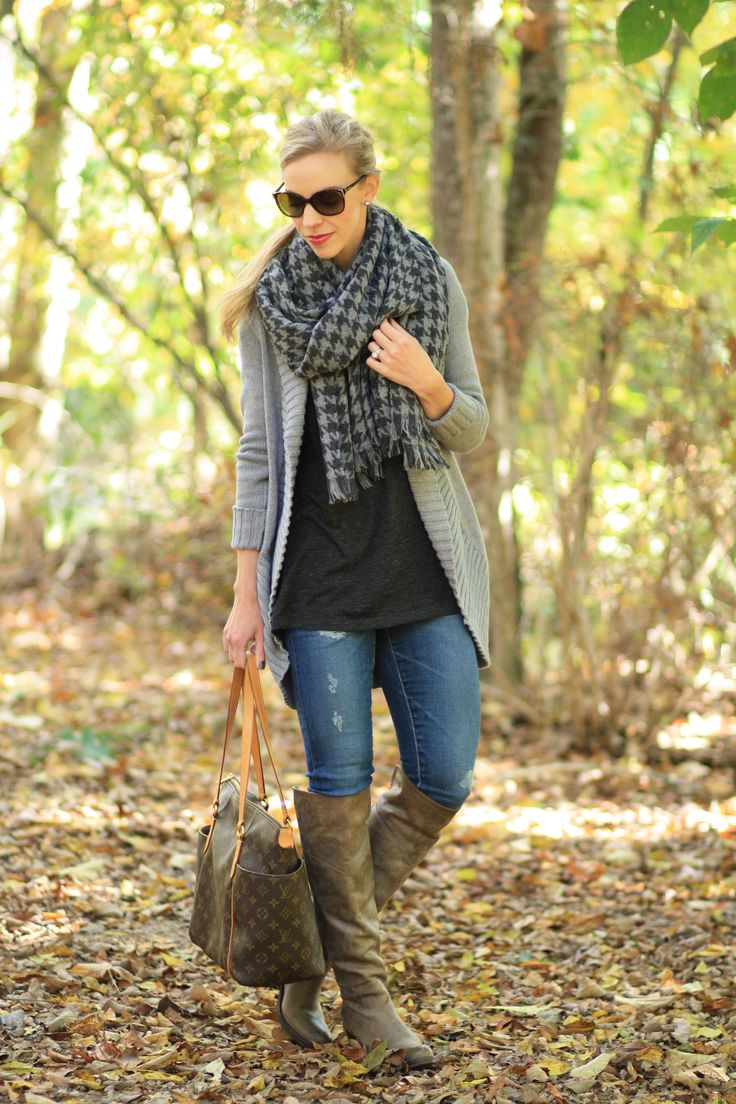 Variations of Gray: gray cocoon sweater, J. Crew gray houndstooth wool blanket scarf, oversized scarf, AG Adriano Goldschmied distressed legging jeans, FRYE Jane Tall gray boots, Louis Vuitton totally MM tote, layered fall look, sweater weather, oversized sweater, over the knee boots