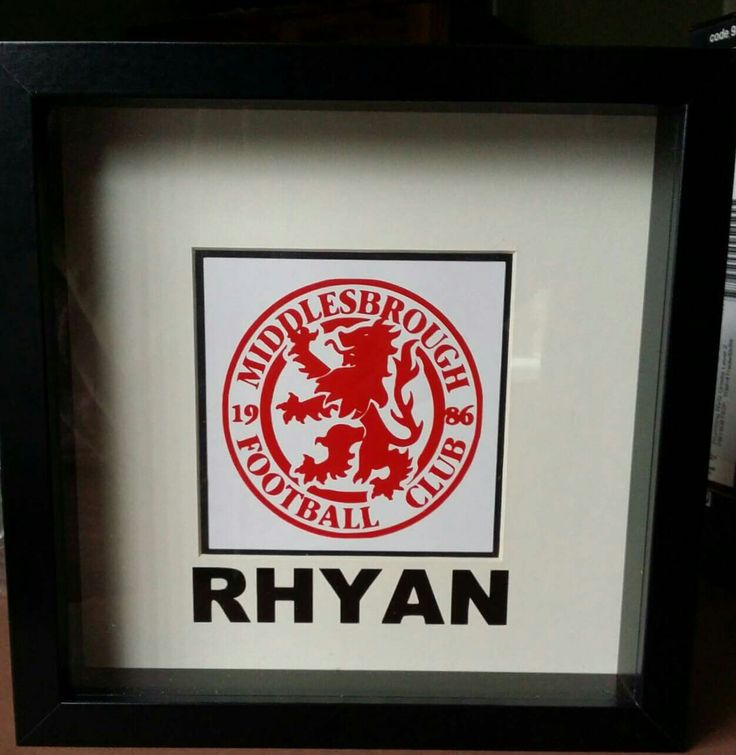 Middlesbrough football club badge, name gift frame in black and red. https://www.facebook.com/Thorny-Tree-Gifts-972127826132391/