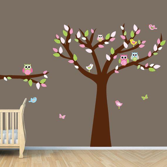 Owl Tree Art Owl Tree decal Owl Wall Decal by vinylartforwalls. , via Etsy.