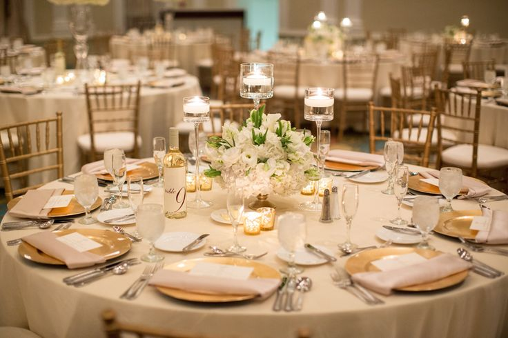 Elegant Gold and Cream Reception Table | photography by http://justindemutiisphotography.com