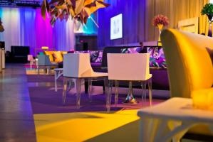 Lighting added to the bright, color-blocked look of the event space. – in See a Gala That's Both Childlike and Elegant #color #texture #lighting