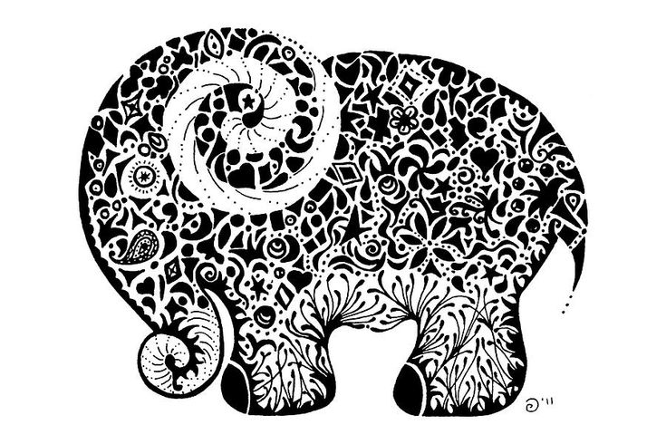 Elephant Doodle Drawing  - Elephant Doodle Fine Art Prin