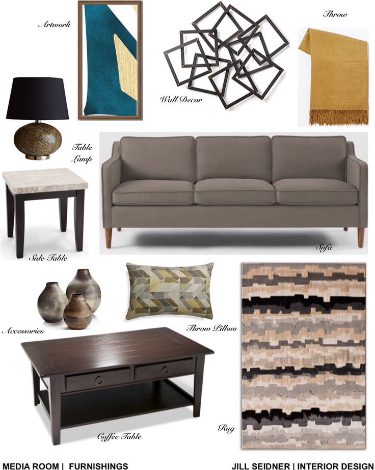 Levittown NY Online Design Project Media Room Furnishings Concept Board Jill SEIDNER Interior