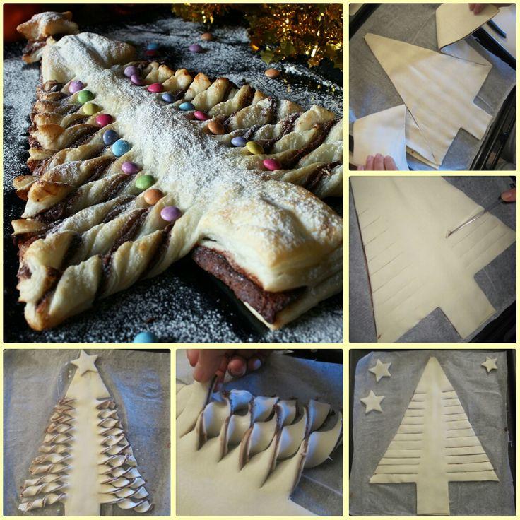 Albero di pasta sfoglia alla nutella, con un dettagliato passo passo fotografico pe realizzarlo. Ricetta per le feste natalizie.: