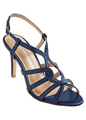 Rhinestone Embellished Strappy Satin Sandals #kaleidoscope #races