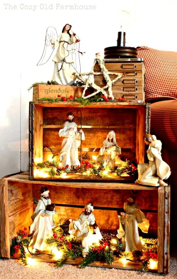 Using old crates for an nativity barn great idea