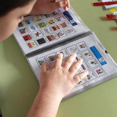 EJEMPLOS DE USO DE LOS SAAC- Cuadernos de comunicación.    Los cuadernos de comunicación son un soporte ideal para aquellos usuarios que necesitan un número significativo de imágenes o pictogramas (superior a los que puede contener un tablero de comunicación) y que son el punto de partida para establecer una comunicación funcional con el entorno más inmediato.    Fotografía: http://www.palao.es/