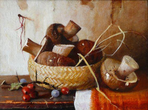 Snejana Slavova. Still life with mushrooms