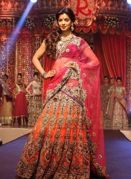 Orange mugdha Godse Latest bollywood replica bridal ghagra choli B15384