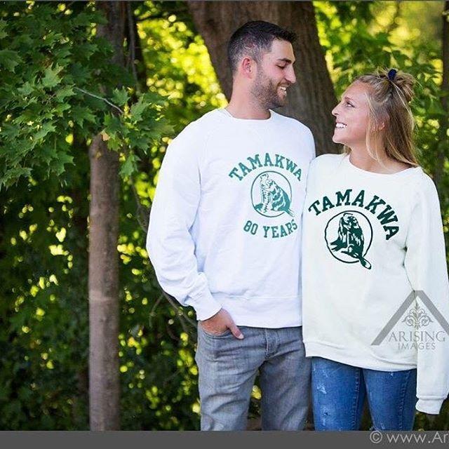 When your #TamakwaSpirit is so strong you wear #TamakwaShirts in your engagement photos... 💚💚💚 So excited for these two Tamakwans... Just a few weeks to go ! #JodieslastRANdezvous @jodieschram @matthewran #SummerCamp #algonquinpark #tamakwawedding #TamakwaTshirt #TamakwaMarriage #theranfinale