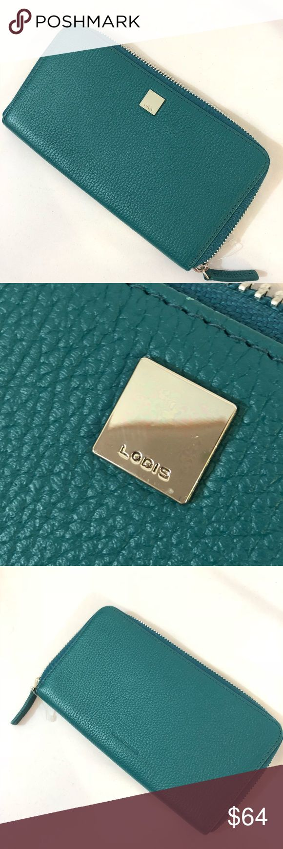 🔥NEW!!🔥 Lodis Zip Wallet Quite simply, chic timeless beauty, refined and elegant. Features smooth grain leather in a beautiful teal color. Inner zip coin purse, lots of credit card slots. Lodis Bags Wallets