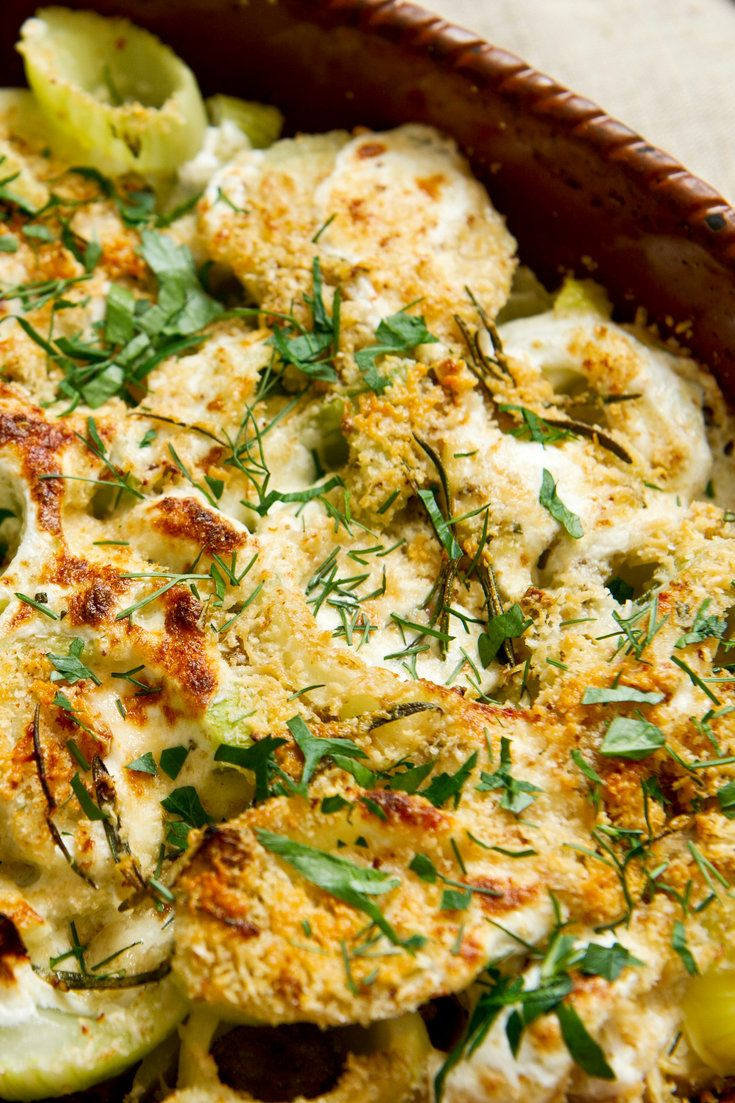 NYT Cooking: The mildly licorice-scented fennel bulb is delicious raw or cooked, so it has many uses, from salad to soup to side dish. Here it is briefly blanched, then baked with mozzarella, Parmesan and bread crumbs. The flavor is amplified with fennel seed, garlic, peperoncino and rosemary, and a little olive oil. It's an excellent vegetarian main dish paired with leafy greens. But%...