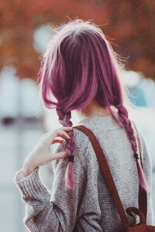Cute Braided Purple Dyed Hairstyle - http://ninjacosmico.com/24-dyed-hairstyles-try/
