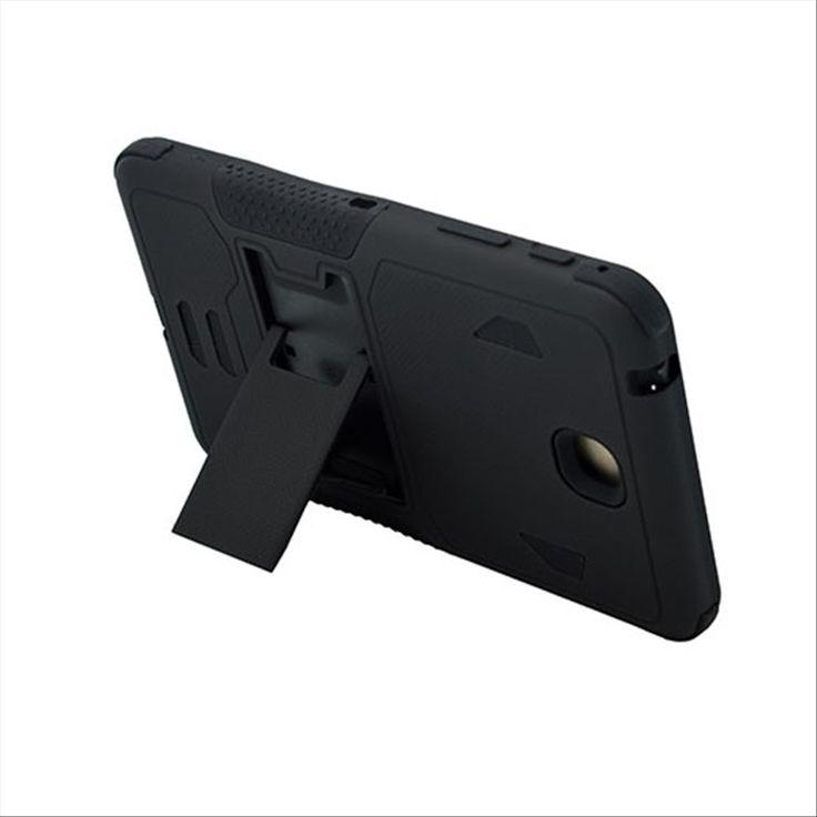 SAMSUNG GALAXY TAB 4 7.0″ CASE, HEAVY DUTY RUGGED HYBRID TRI LAYER ARMOR COVER WITH KICKSTAND (BLACK)   #tabletgadgets #tabletaccessories   www.kuteckusa.com.