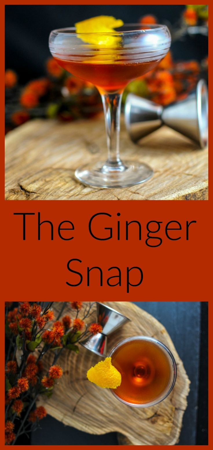 Ginger Snap Cocktail - amaro, scotch, amaretto, ginger liqueur. Drink, recipe, fall, autumn... But I'd make it with whiskey!!