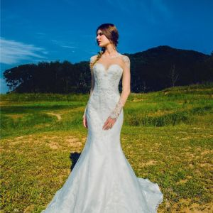 Sheer Illusion Neck line Wedding Gowns with Long Lace Sleeves