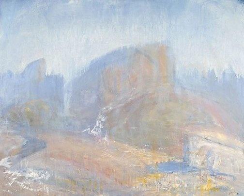 """The waterfall, Tasmania"" by Lloyd Rees (1982) via AGNSW."