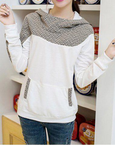 Casual Style Hooded Print Spliced Long Sleeve Women's SweatshirtSweatshirts & Hoodies | RoseGal.com