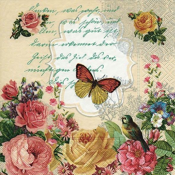 Set of 4 vintage decoupage napkins with butterfly Vintage paper serviettes 33x33 Craft paper napkins Scrapbook paper