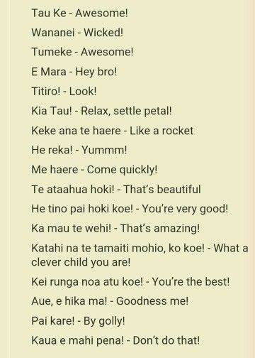 Te Reo phrases to use within the centre. Different to common ones I already have up.