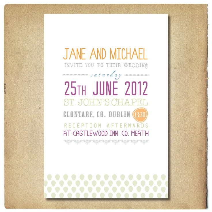 Wedding Invitation with Text Design // Green and Purple Invitation // Thank You // RSVP // Sample. €5,00, via Etsy.